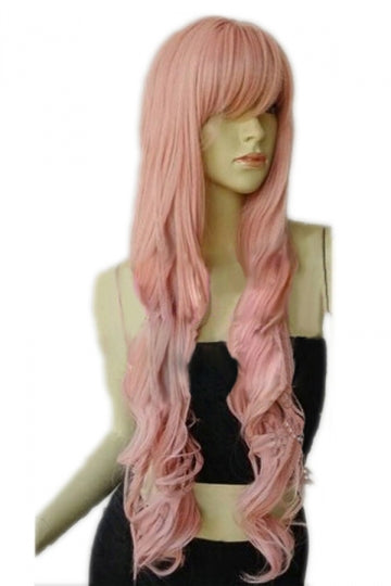 Pink Classic Womens Long and Curly Hair Wig