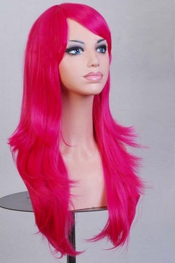 Rose Red Fashion Cosplay Ladies Sexy Long Waves Hair Wig