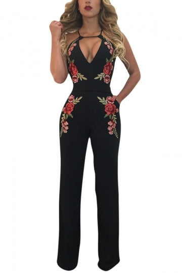 Women Sexy Halter Embroidered Open Back High Waist Jumpsuit Black