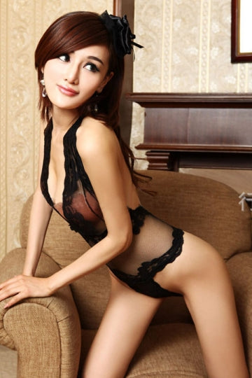 Black Alluring Womens Sheer Lace Teddy