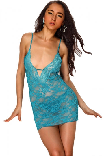 Blue See Thru Lingerie Womens Lace Up Sexy Babydoll