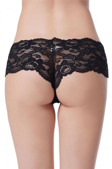 Black Plus Size Lace See Through Sexy Womens Panty