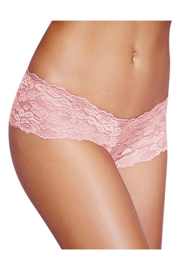 Pink Plus Size Lace See Through Sexy Womens Panty