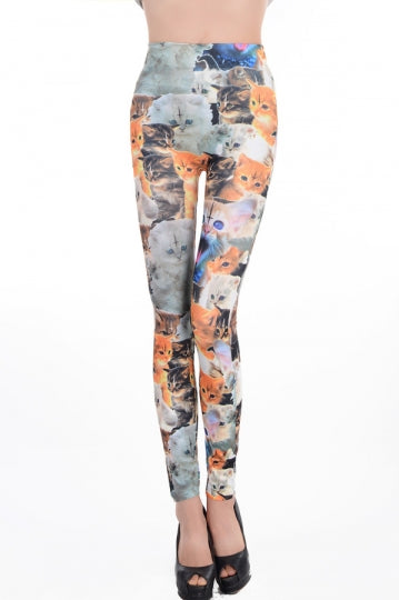 Orange Sexy Ladies Cat Printed Animal Print Leggings