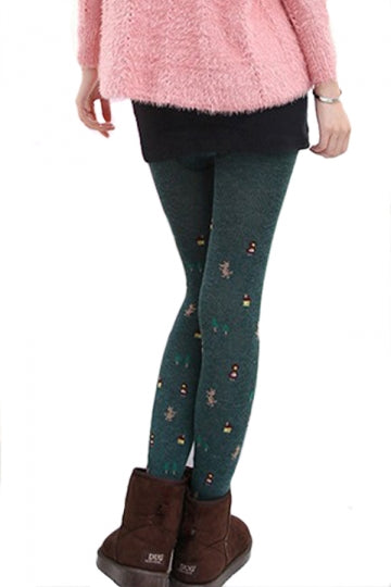 Green Womens Cotton Christmas Cute Lined Thick Tights