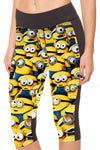 Womens Minions Printed Side Pocket Capri Sports Leggings Yellow