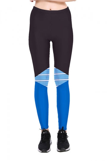 Color Block Stripes High Waist Sports Wear Leggings Sapphire Blue