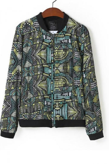 Green Ethnic Womens Long Sleeves Geometric Pattern Print Jacket