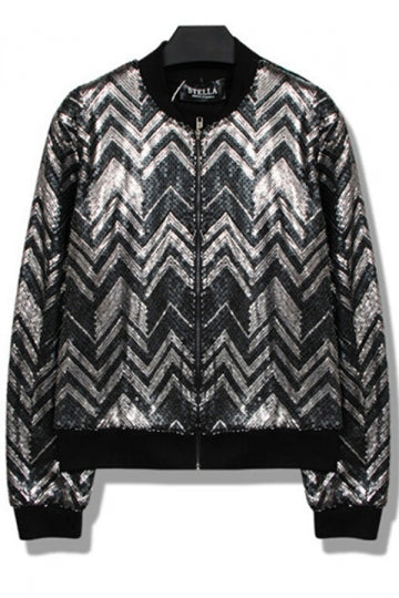 Black Modern Ladies Zipper Wavy Sequins Cool Jacket