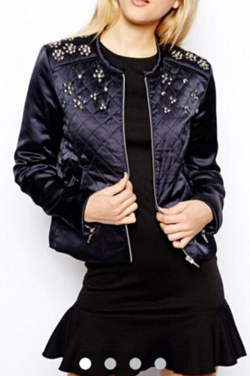 Black Womens Flowers Studded Cotton Cool Long Sleeves Jacket