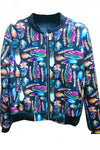 Blue Modern Ladies Long Sleeve Colorful Feather Printed Jacket