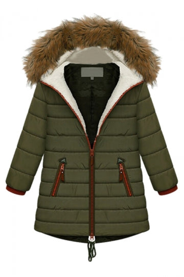 Green Cool Ladies Winter Warm Plain Fur Hooded Quilted Coat