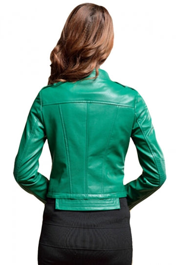 Womens Slim PU Leather Motorcycle Jacket Green