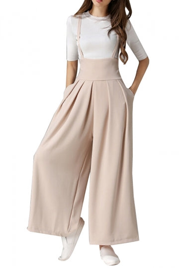 Plain Spaghetti Straps High Waist Wide Leg Overalls For Women Apricot