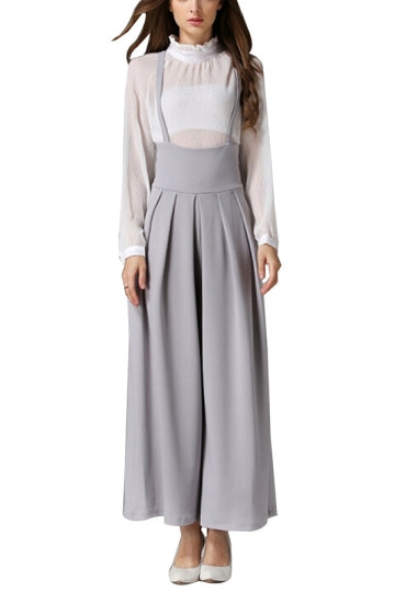 Plain Spaghetti Straps High Waist Wide Leg Overalls For Women Gray