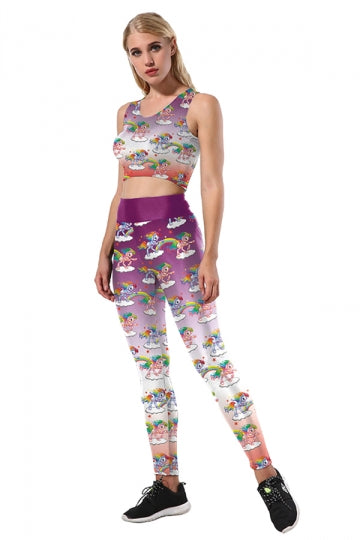 Halloween Unicorn Printed Crop Top&Skinny Leggings Sports Suit Purple