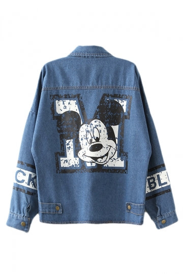 Blue Loose Ladies Cute Mouse Printed Denim Lapel Coat