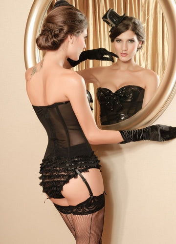 Power Net Bustier with Padded Sequin Cups