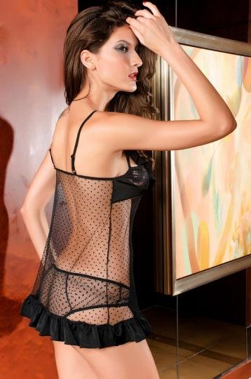 Black Ruffle Fishnet Baby Doll Set