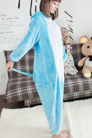 Blue Cute Womens Flannel Pajamas Elephant Dumbo Jumpsuit Costume