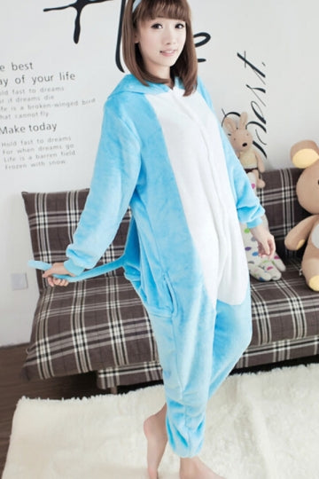 Blue Chic Womens Comfortable Flannel Hippo Jumpsuit Pajamas Costume