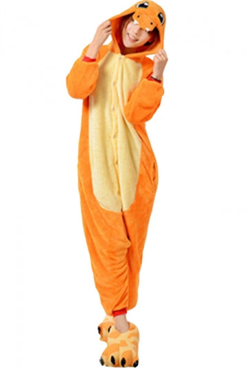 Womens Hooded Charmander Pajamas Onesies Animal Costume Orange
