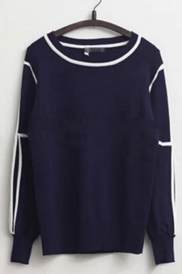 Comfortable Womens Knitted Cut Out Shoulder Elastic Sweatshirt Navy Blue