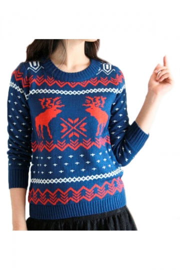 Blue Ladies Crew Neck Reindeer Pullover Ugly Christmas Sweater