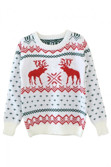 Beige Ladies Crew Neck Reindeer Pullover Ugly Christmas Sweater