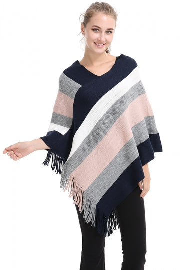 Womens V-Neck Color Block Fringe Pullover Sweater Poncho Apricot