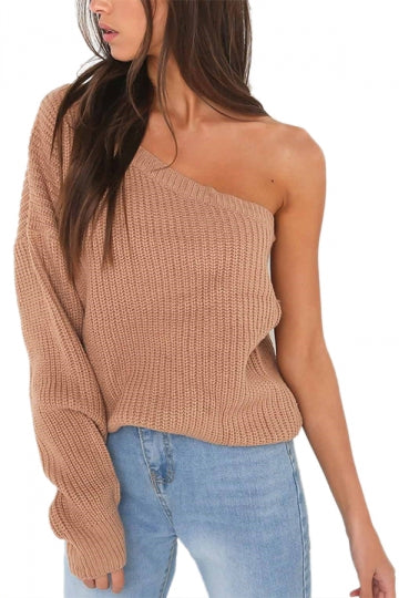 Sexy One Shoulder One Sleeve Plain Sweater Coffee