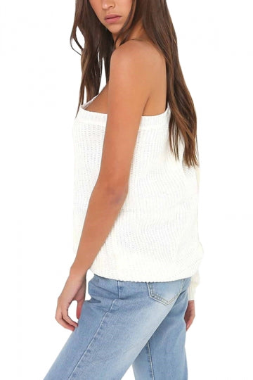 Sexy One Shoulder One Sleeve Plain Sweater White