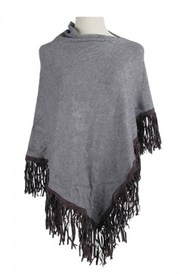 Women Sexy One Shoulder Poncho With Fringe Hem Gray
