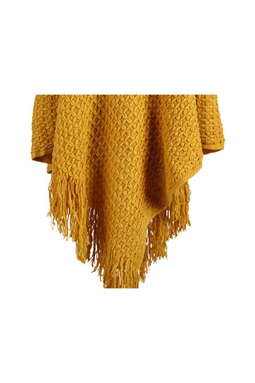 Women Hooded Fringe Hem Plain Poncho Yellow