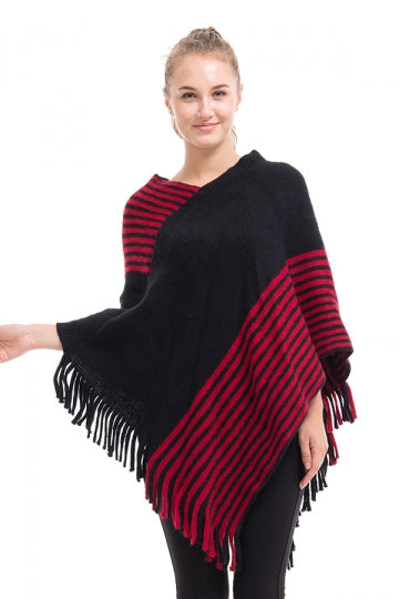 Womens V-Neck Oversized Stripe Fringe Pullover Sweater Poncho Black