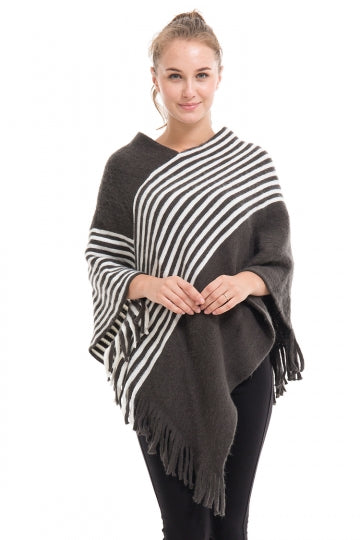 Womens V-Neck Oversized Stripe Fringe Pullover Sweater Poncho Gray