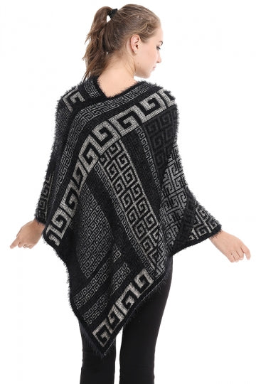 Womens  V-Neck Geometry Pattern Pullover Sweater Poncho Black