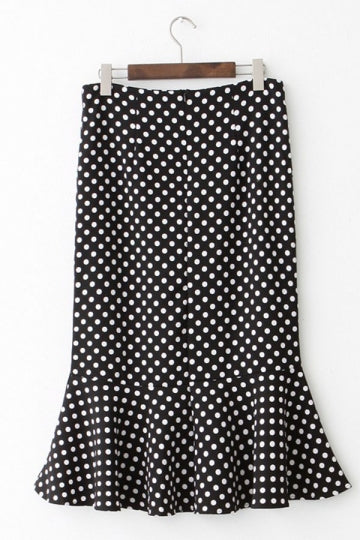 Black Pretty Womens Polka Dot High Waisted Pleated Skirt