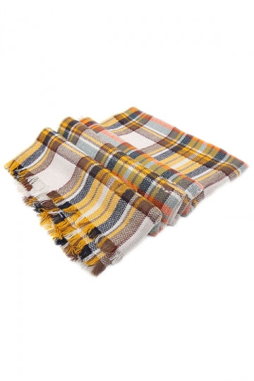 Khaki Fashion Ladies Thicken Warm Winter Plaid Scarf