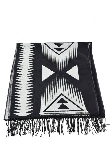 Both Side Plaid Poncho With Fringe Black And White