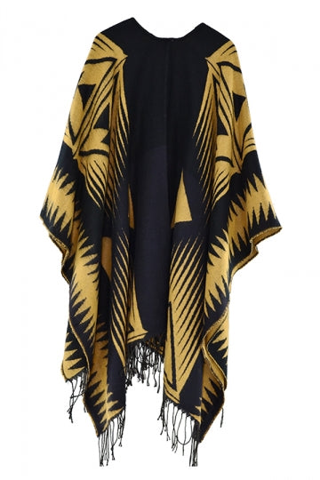 Both Side Plaid Poncho With Fringe Yellow