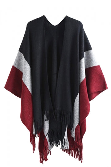 Womens Pattern Thick Poncho With Fringe Black