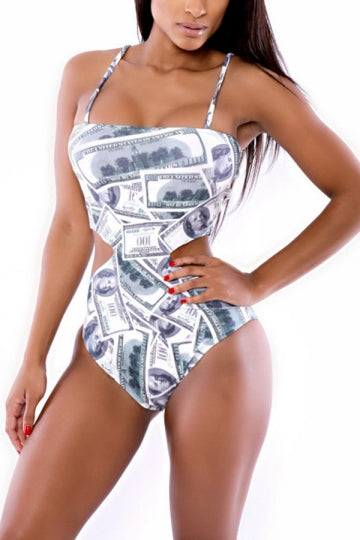 Blue Cut Out Sexy Dollars Printed Womens Straps Monokini