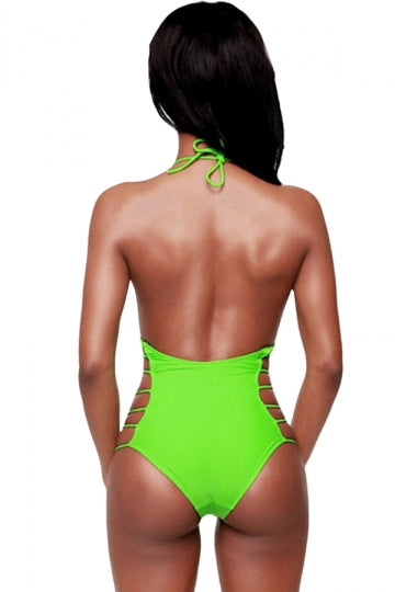 Green Fashion Backless Halter Cut Out Sexy Monokini
