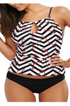 Womens Sexy Straps Printed Hollow Out Two Pieces Tankini Black