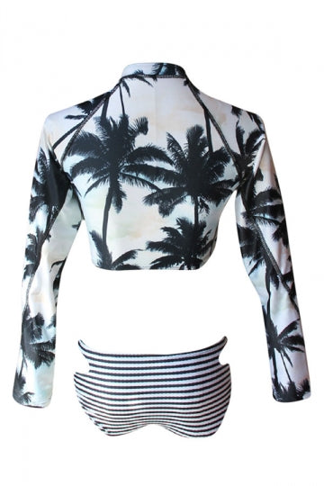 Womens Zip Up Long Sleeve Cutout Striped 2PCS Tankini Set Green