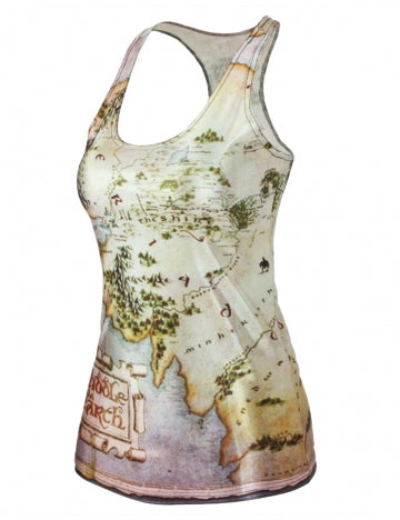 Beige Sexy Ladies Sleeveless Colorful 3D Map Printed T Shirt