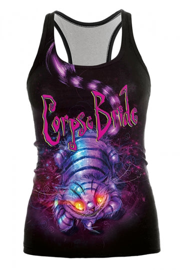 Cheshire Cat Printed Halloween Tank Top Black