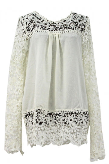 Beige Ladies Hollow Out Long Sleeve Lace Blouses