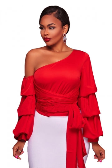 d135359d05826 Womens Sexy Bandage Lantern Sleeve Clubwear One Shoulder Top Red ...